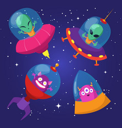 cartoon funny aliens with ufo in duck starry sky vector image