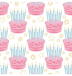Hand drawn birthday cake seamless pattern vector image vector image
