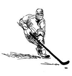 Hand sketch hockey player vector image