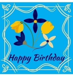 Happy birthday card with flower frame vector image