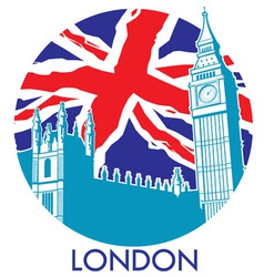 London big ben with union jack flag background vector image