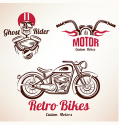 motorbikes emblems and labels set retro motorcycle vector image vector image