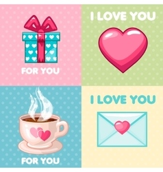 pack of nice valentine greeting cards vector image vector image