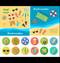 beach vacation concept in flat style design vector image vector image