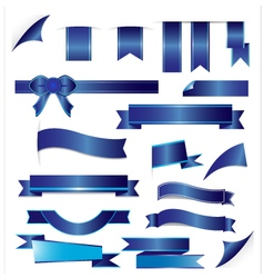 Blue ribbons set isolated on white background vector image