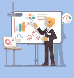 Business seminar speaker doing presentation vector