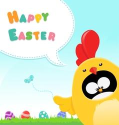 Chicken Costumed Penguin Easter Message vector image vector image