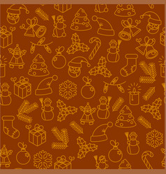 christmas thin line icon seamless pattern vector image vector image