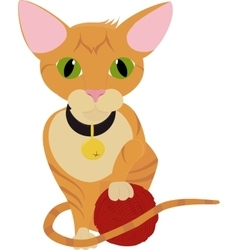 cute ginger orange kitten playing with ball of vector image