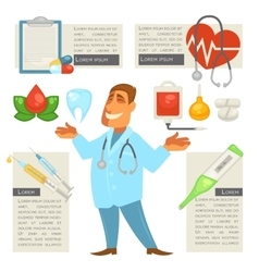 Doctor character man with Medical Icons Set vector image vector image