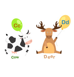 isolated alphabet letter c-cowd-deer vector image vector image