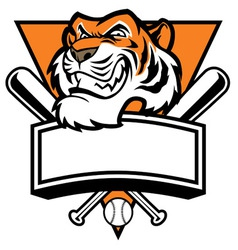 Mascot of tiger head base ball vector