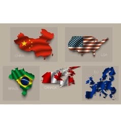 Set of five great states superpowers vector image