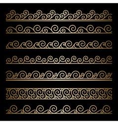 Gold wavy borders vector image vector image