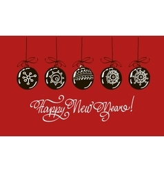 Happy new year hand lettering isolated on red vector image vector image