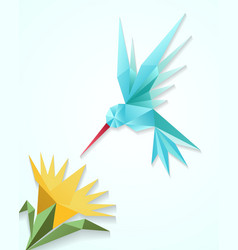 Origami hummingbird with flower Paper 3D humming vector image vector image