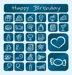 Birthday Icons Chalk Drawing Style vector image