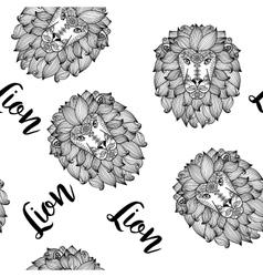 Black doodle lion face seamless pattern vector image
