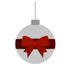 christmas ball wrapped ribbon bow decoration vector image