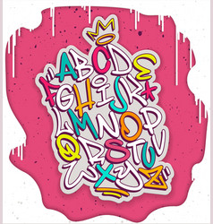 colorful handwritten graffiti font alphabet vector image vector image