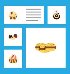 flat cake set of pastry biscuit confectionery vector image vector image