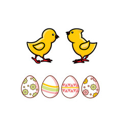 flat easter decorated chicken eggs chicks vector image