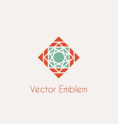 mosaic rhomb emblem vector image vector image