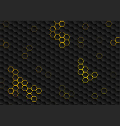 abstract black hexagons tech geometric background vector image