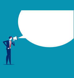 Angry man is shouting through megaphone concept vector