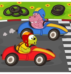 Animals in car racing vector