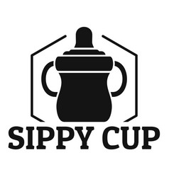 baby sippy cup logo simple style vector image
