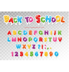 back to school balloon paper cutout font for kids vector image