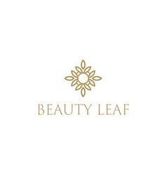 beauty leaf pattern hotel and spa symbol design vector image