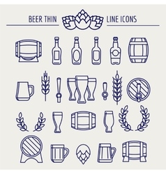 Beer thin line icons set vector image
