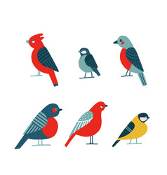 birdwatching icon set red northern cardinal vector image