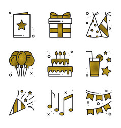 Birthday party icons set in gold golden birthday vector