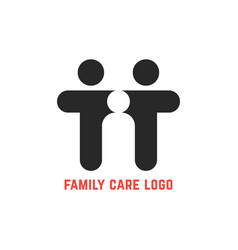 Black simple family care logo vector