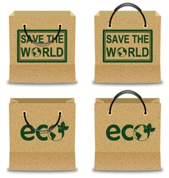 Brown Paper Shopping Bag Set with ECO and SAVE THE vector