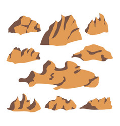 brown stone rock set vector image