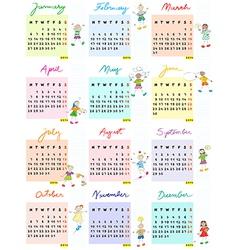 Calendar 2014 with schoolkids vector