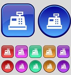 Cash register icon sign A set of twelve vintage vector