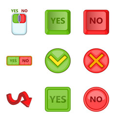 choose answer icons set cartoon style vector image