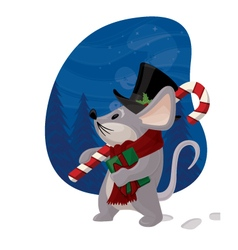 christmas mouse with winter background cartoon vector image