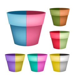 Collection of Ceramic Flower Pots on White Backgro vector image