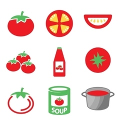 color tomato icons set vector image