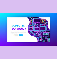 computer technology neon landing page vector image