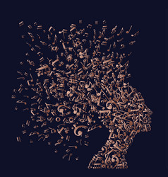 Copper woman head with music notes concept vector