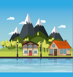country houses design vector image