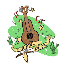 Country music logo with guitar cacti skull and vector