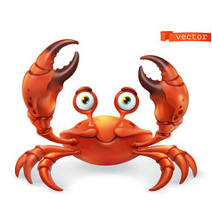 crab cartoon character funny animal 3d icon vector image